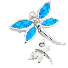 925 sterling silver blue australian opal (lab) dragonfly pendant c15682