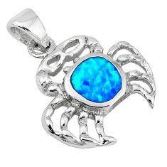 925 sterling silver blue australian opal (lab) enamel crab pendant c15734