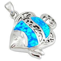 925 sterling silver blue australian opal (lab) enamel fish pendant c15717