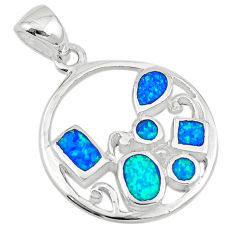 925 sterling silver blue australian opal (lab) enamel pendant a74224 c24449