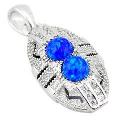 925 sterling silver blue australian opal (lab) topaz pendant art deco c23000