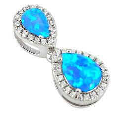925 sterling silver blue australian opal (lab) topaz pendant jewelry c25848
