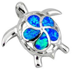 925 sterling silver blue australian opal (lab) turtle pendant jewelry c15679