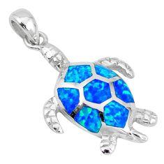 925 sterling silver blue australian opal (lab) turtle pendant jewelry c15676
