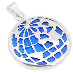 925 sterling silver blue bling topaz (lab) round pendant jewelry c21923