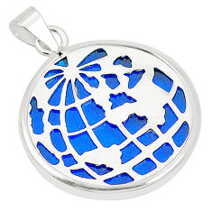 925 sterling silver blue bling topaz (lab) round pendant jewelry c23237