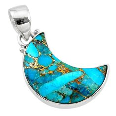 925 sterling silver 10.15cts blue copper turquoise fancy moon pendant t21810
