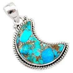 925 sterling silver 11.73cts blue copper turquoise fancy moon pendant t21980