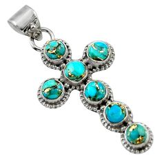 925 sterling silver 6.48cts blue copper turquoise holy cross pendant r48028