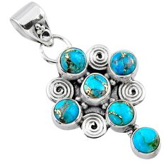925 sterling silver 4.02cts blue copper turquoise holy cross pendant r55789
