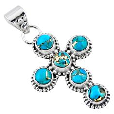 925 sterling silver 4.51cts blue copper turquoise holy cross pendant r55907