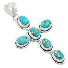 925 sterling silver 9.72cts blue copper turquoise holy cross pendant t53053