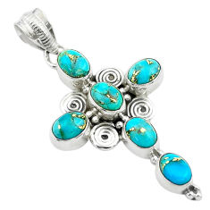 925 sterling silver 8.42cts blue copper turquoise holy cross pendant t53059