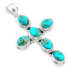 925 sterling silver 9.23cts blue copper turquoise holy cross pendant t53097
