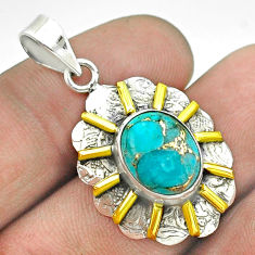 925 sterling silver 5.16cts blue copper turquoise oval 14k gold pendant t55694