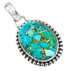925 sterling silver 12.67cts blue copper turquoise pendant jewelry r26556