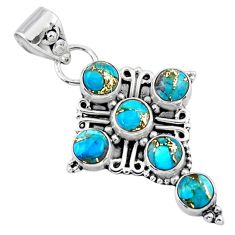 925 sterling silver 4.51cts blue copper turquoise round cross pendant r55827