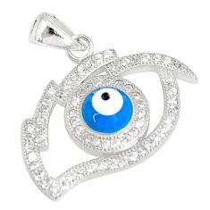 925 sterling silver 2.50cts blue evil eye talismans topaz round pendant c21131