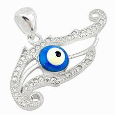 925 sterling silver blue evil eye talismans topaz round pendant jewelry c20938