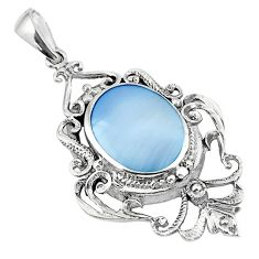925 sterling silver 4.40cts blue pearl oval pendant jewelry a91873 c14754
