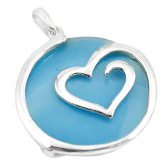 925 sterling silver 15.88cts blue pearl round heart pendant a88674 c14589