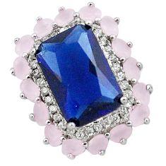 925 sterling silver 6.26cts blue sapphire quartz chalcedony pendant c19091