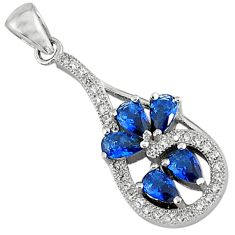 925 sterling silver blue sapphire quartz white topaz pendant jewelry c22819