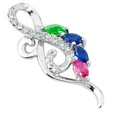 925 sterling silver blue sapphire ruby quartz topaz pendant jewelry c22815