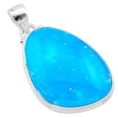 925 sterling silver 24.38cts blue smithsonite fancy pendant jewelry t22817