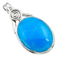 925 sterling silver 18.70cts blue smithsonite oval pendant jewelry r27905