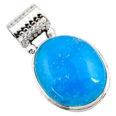 925 sterling silver 17.57cts blue smithsonite oval pendant jewelry r27917