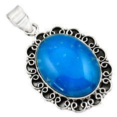 925 sterling silver 19.00cts blue smithsonite oval pendant jewelry r32080