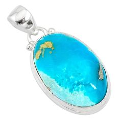 925 sterling silver 14.72cts blue smithsonite oval pendant jewelry t10632