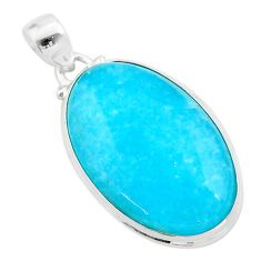 925 sterling silver 22.54cts blue smithsonite oval pendant jewelry t42399