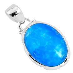 925 sterling silver 10.05cts blue smithsonite oval shape pendant jewelry r94644