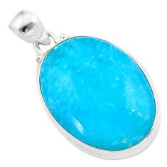 925 sterling silver 25.00cts blue smithsonite oval shape pendant jewelry t42388