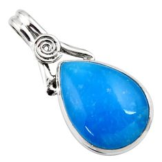 925 sterling silver 15.65cts blue smithsonite pear pendant jewelry r27774
