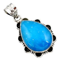 925 sterling silver 15.65cts blue smithsonite pear pendant jewelry r27777