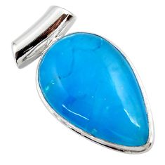 925 sterling silver 18.70cts blue smithsonite pear pendant jewelry r27913