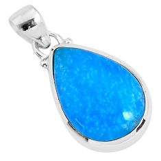 925 sterling silver 10.60cts blue smithsonite pear pendant jewelry r94643