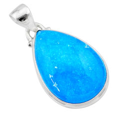 925 sterling silver 15.08cts blue smithsonite pear pendant jewelry t22794
