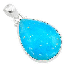 925 sterling silver 16.62cts blue smithsonite pear pendant jewelry t42378