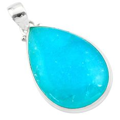 925 sterling silver 20.18cts blue smithsonite pear pendant jewelry t42392