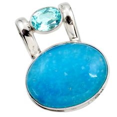 925 sterling silver 17.57cts blue smithsonite topaz pendant jewelry r27909