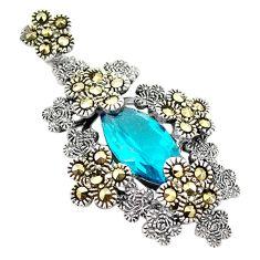 925 sterling silver blue topaz quartz fine marcasite pendant jewelry c17190