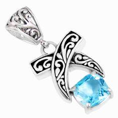 925 sterling silver 2.68cts blue topaz quartz pendant jewelry c22159
