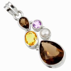 925 sterling silver 16.20cts brown smoky topaz amethyst pearl pendant d42998