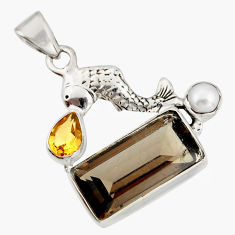 925 sterling silver 10.64cts brown smoky topaz citrine pearl fish pendant r20511