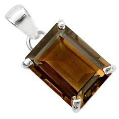 925 sterling silver 10.79cts brown smoky topaz octagan pendant jewelry t54804