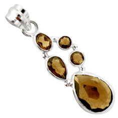925 sterling silver 9.99cts brown smoky topaz pear pendant jewelry r20358